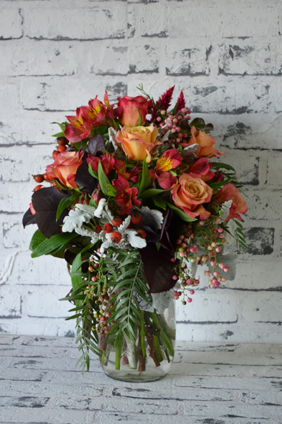 Scentsational Flowers - Autumnal Mason Jar Flower Arrangement