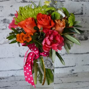 Scentsational Flowers - Bright Milkbottle Flower Arrangement