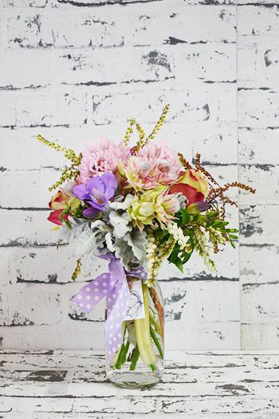Scentsational Flowers - Pastel Milkbottle Flower Arrangement