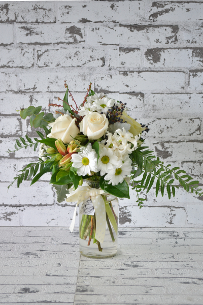 Scentsational Flowers - White & Green Milkbottle Arrangement