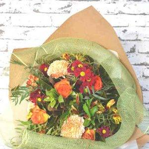 Autumnal bouquet giftwrapped