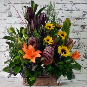 Scentsational Flowers - Autumnal Flower Arrangement in Wooden Box