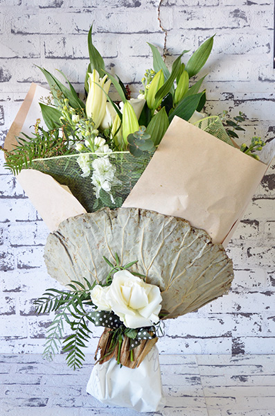 Scentsational Flowers - Mixed Flower Bouquet White & Green Gift Wrapped