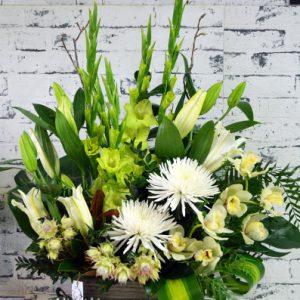 Scentsational Flowers -White & Green Flower Arrangement in Wooden Box