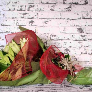 Christmas lily gift wrap flowers