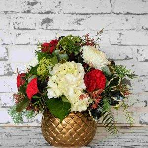 Scentsational Flowers Christmas flower arrangement in gold vase