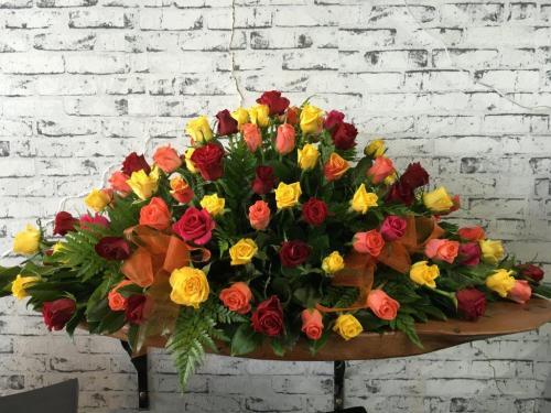 10.Casket Flowes Roses autumn tones